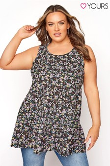 Yours Button Detail Floral Tunic
