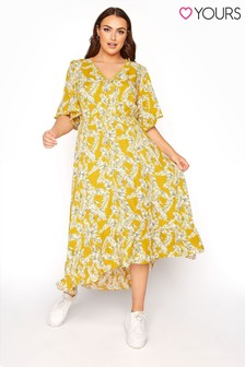 Yours Hi Low Palm Print Dress