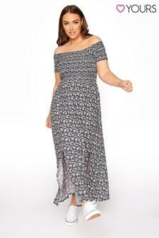 Yours Shirred Bardot Ditsy Maxi Dress