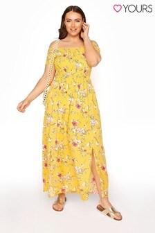 Yours Shirred Bardot Floral Maxi Dress