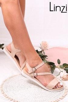 Linzi Addison Faux Leather Comfort Strap Detail Sandal