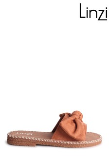Linzi Detroit Faux Suede Slip On Slider With Large Bow Front Strap