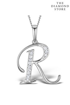The Diamond Store 925 Silver Lab Diamond Initial R Necklace 0.05ct