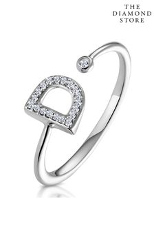 The Diamond Store Lab Diamond Initial D Ring 0.07ct Set in 925 Silver