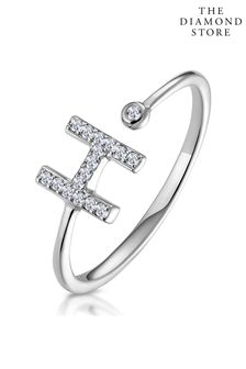 The Diamond Store Lab Diamond Initial H Ring 0.07ct Set in 925 Silver