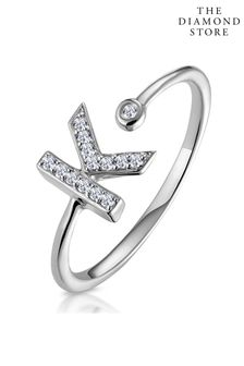 The Diamond Store Lab Diamond Initial K Ring 0.07ct Set in 925 Silver