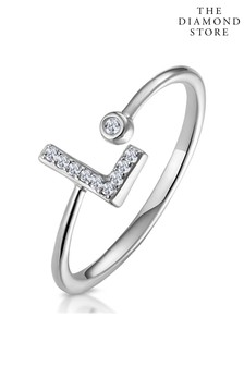 The Diamond Store Lab Diamond Initial L Ring 0.07ct Set in 925 Silver