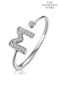The Diamond Store Lab Diamond Initial M Ring 0.07ct Set in 925 Silver