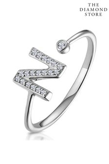 The Diamond Store Lab Diamond Initial N Ring 0.07ct Set in 925 Silver