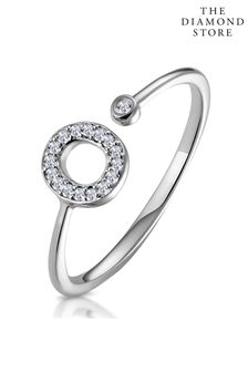 The Diamond Store Lab Diamond Initial O Ring 0.07ct Set in 925 Silver