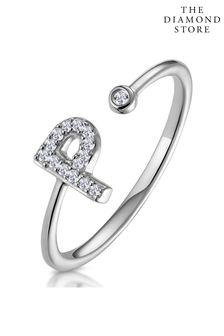 The Diamond Store Lab Diamond Initial P Ring 0.07ct Set in 925 Silver