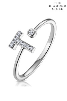 The Diamond Store Lab Diamond Initial T Ring 0.07ct Set in 925 Silver