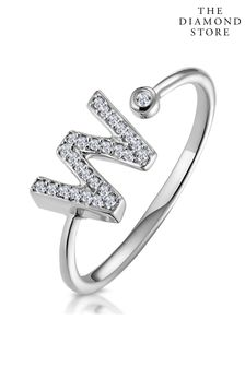 The Diamond Store Lab Diamond Initial W Ring 0.07ct Set in 925 Silver