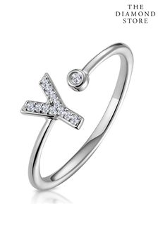 The Diamond Store Lab Diamond Initial Y Ring 0.07ct Set in 925 Silver