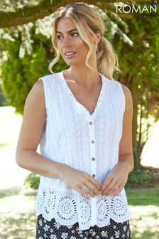 Roman Eyelet Detail Embroidered Crinkle Blouse