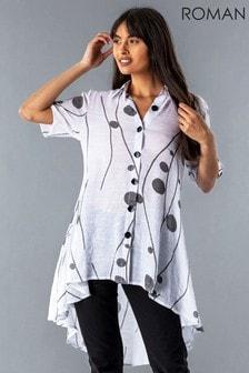 Roman Spot Print Button Through Shirt