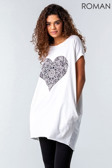 Roman One Size Henna Heart Print Lounge Top