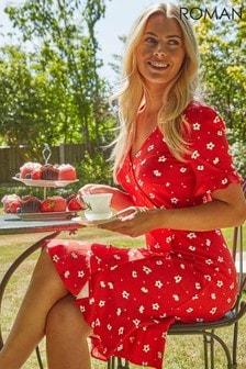 Roman Floral Side Button Tea Dress