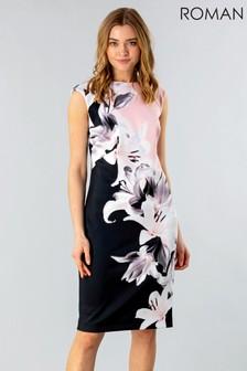 Roman Floral Print Scuba Dress