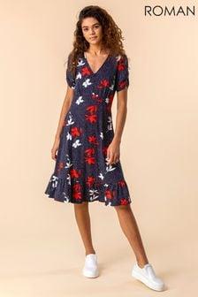 Roman Floral Spot Print Frill Hem Dress