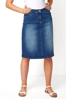 Roman A-Line Denim Skirt