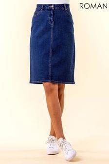 Roman A Line Knee Length Denim Skirt