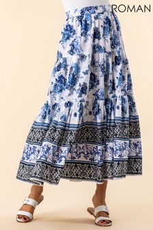Roman Floral Contrast Print Tiered Skirt