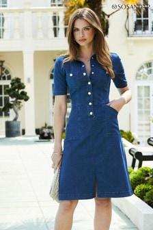 Sosandar Lightweight Short Sleeve Denim Popper Dress