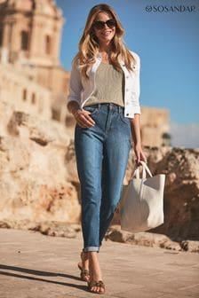 Sosandar Slim Leg Mom Jeans