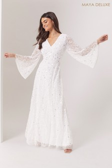 Maya All Over Embellished Cut-Out Back Maxi Dress