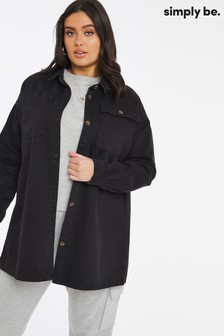 Simply Be Black Oversized Denim Shacket