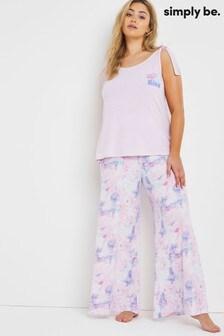 Simply Be Pretty Secrets Modal Wide Leg Slogan Pyjama Set