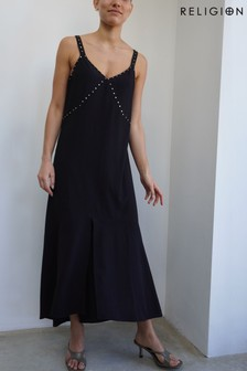 Religion High Low Strappy Maxi Dress With Stud Detailing