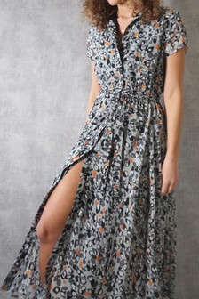 Religion Shirt Maxi Dress With Full Skirt In Dotted Print