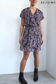 Religion Skater Dress With Wrap Detail In Monochrome Print
