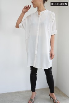 Religion Tunic Mini Dress With Stud Details