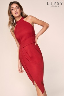 Lipsy Asymmetric Halter Midi Dress