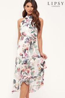 Lipsy Printed Halter Midi Dress