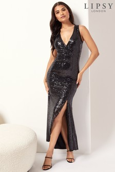 Lipsy V Neck Sequin Maxi Dress
