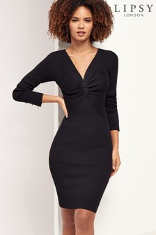 Lipsy Knot Front Knitted Rib Dress