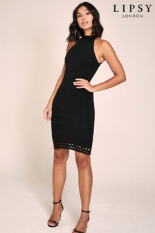 Lipsy Halter Knitted Lace Trim Dress