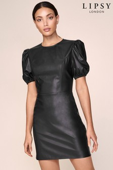 Lipsy Faux Leather Puff Sleeve dress