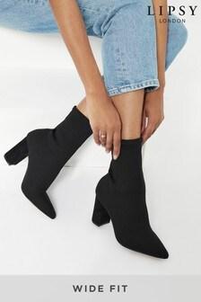 Lipsy Block Heeled Knit Sock Boot