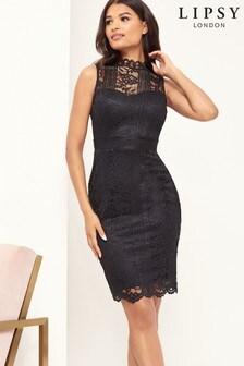 Lipsy Lace High Neck Bodycon Dress