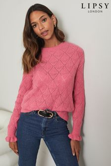 Lipsy Knitted Pointelle Frill Cuff Jumper