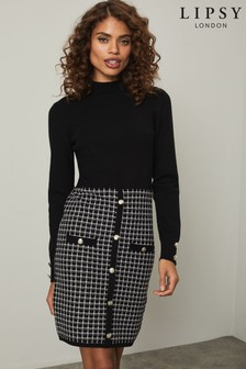 Lipsy Knitted 2 in 1 Check Dress