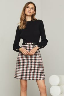 Lipsy 2 in 1 Check Boucle Knitted Dress