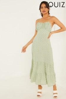 Quiz Ditsy Print Strappy Midaxi Dress