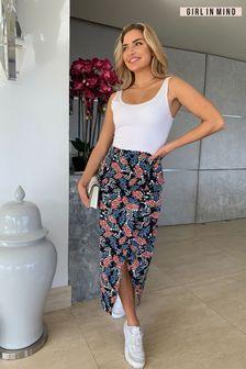 Girl In Mind Side Wrap Midi Skirt