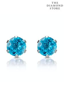 The Diamond Store Blue Topaz 4mm 9K White Gold Stud Earrings